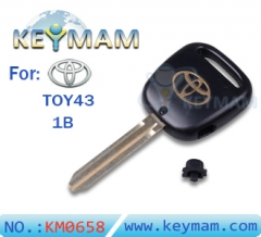 Toyota TOY43 1 button remote key shell