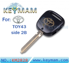 Toyota TOY43 side 2 button remote key shell
