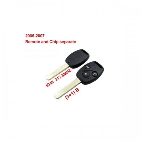 Remote Key (3+1) Button and Chip Separate ID:46 (313.8MHZ) Fit ACCORD FIT CIVIC ODYSSEY For 2005-2007 Honda